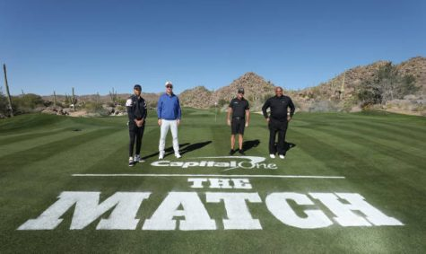 TUCSON, ARIZONA - NOVEMBER 27: (L-R) Stephen Curry, Peyton Manning, Phil Mickelson and Charles Barkley pose for a portrait prior to Capital One