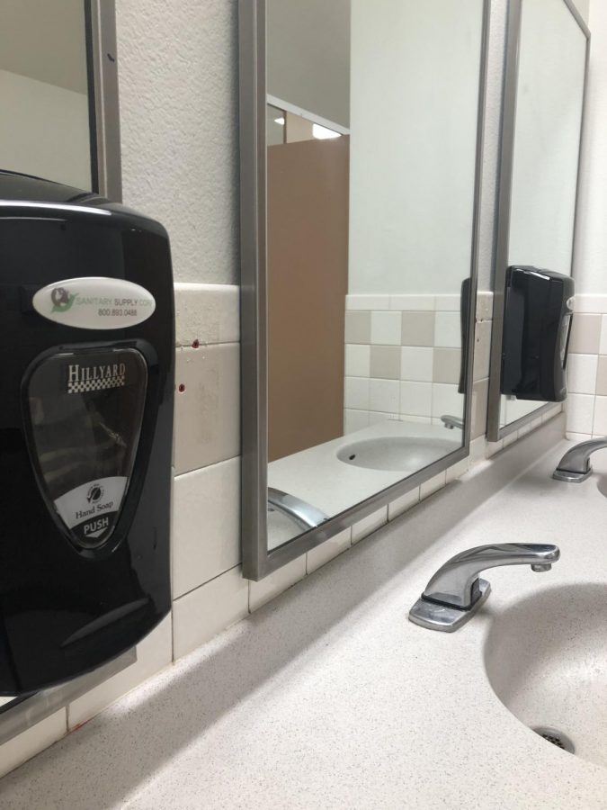 Picture of the new soap dispensers and the empty spaces on the walls where the stolen ones were.
